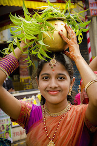 India woman with pot