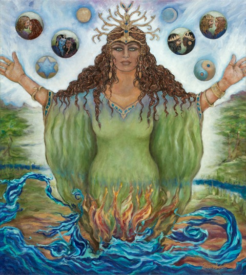 """Asherah Comes Forth ~ Bringing Balance Into the World Through Divine Love"" – original artwork by Baraka Robin Berger"